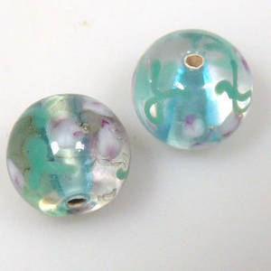 Indian Lampwork, round, transparent with light teal and pink flower/leaf designs