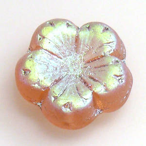 Jube Flower, 17mm - Peachy Brown, frosted AB