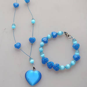 NEW KITSET: Floating necklace and bracelet: Aqua fibreoptic