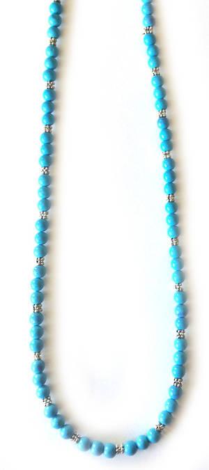 KITSET: Simple Semi Precious Necklace - Blue Howlite