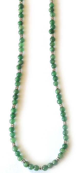KITSET: Simple Semi Precious Necklace - Green Jade (dyed)