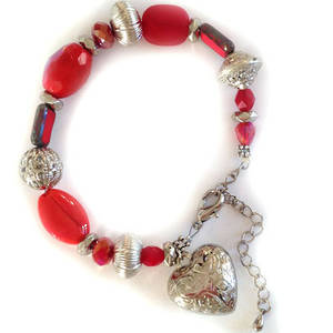 Eclectia Bracelet KIT: Red and silver with heart charm