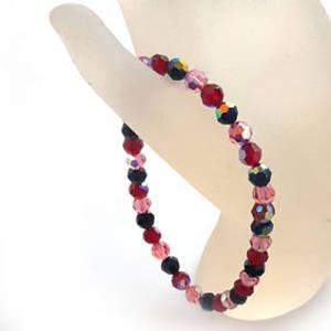 KITSET: Swarovski Crystal Bracelet - Pinks & Reds & Jet ab