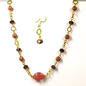 Linked Chain Necklace Kitset, dusky pink and gold scoop