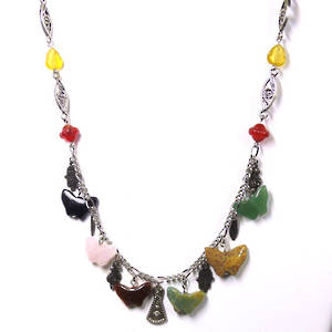 Linked Chain Necklace Kitset, semi-precious butterfly