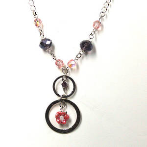 Linked Chain Necklace Kitset, pinky flower