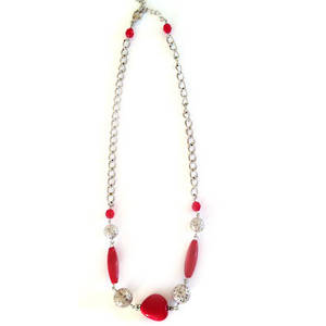Linked Chain Necklace Kitset: Red and Silver