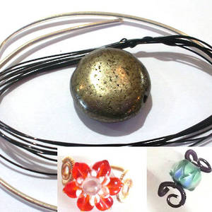 Wire Ring Kit, Iron Pyrite flat disc