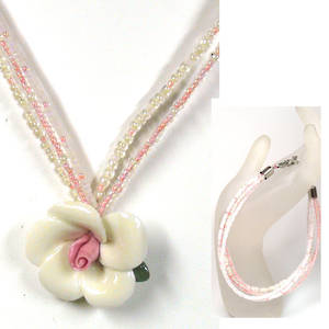 KITSET, rose necklace and 3 strand bracelet, White and Peach