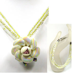 KITSET, rose necklace and 3 strand bracelet, Light Yellow