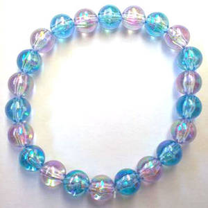KITSET: Kids stretch bracelet, small acrylic beads, blue and lilac