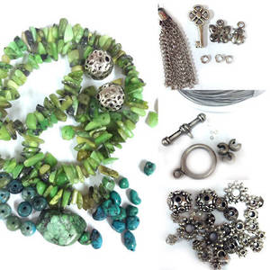 KITSET: Wrapped Bracelet: Green and Turquoise