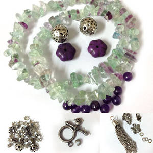 KITSET: Wrapped Bracelet: Rainbow Flurite and Amethyst