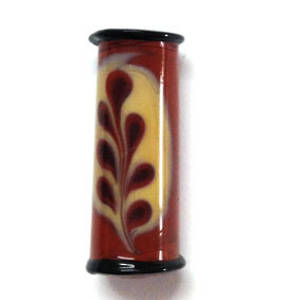 Czech lampwork barrel, tan with cream feather marking (one side only)