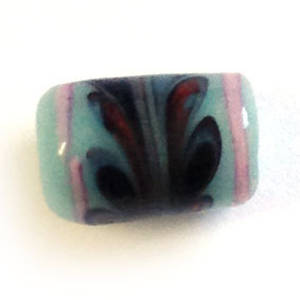 Chinese lampwork barrel, opaque grungy blue with black and pink feather markings