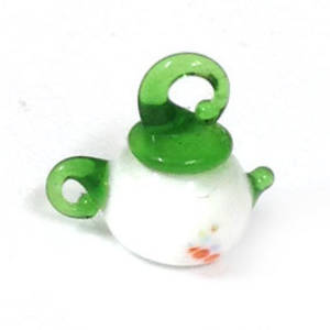 Chinese lampwork, white and green teapot