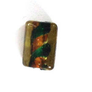 Chinese lampwork rectangle, transparent amber with emerald and amber core
