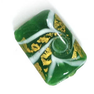 Chinese lampwork rectangle, green with gold and white designs