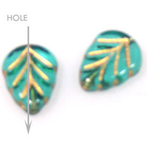 Glass Triangle Leaf, 8mm x 10mm - Teal with gold detail