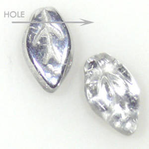Glass Fine Curved Leaf, 6mm x 10mm - Crystal silver