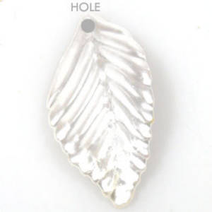 Acrylic Leaf,19mm x 37mm - Pearlised white