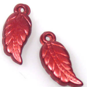 Acrylic Leaf, 8mm x 27mm - Metallic Red