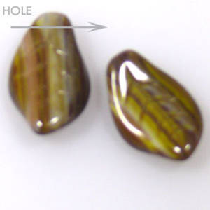 Glass Fat Curved Leaf, 9mm x 15mm - Green/brown/grey multi