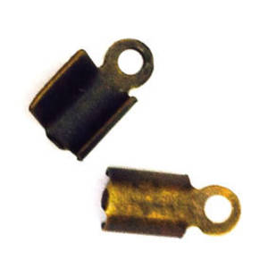 Fold Over Crimp (leatherend) - regular, 5mm: Antique Brass