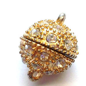 Magnetic clasp, large, gold, set with diamantes