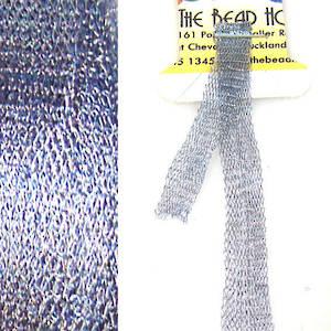 Italian Metallic Mesh Ribbon, Steel Blue
