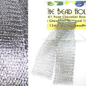 Italian Metallic Mesh Ribbon, Silver Grey