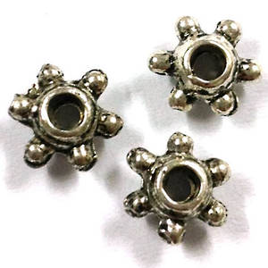 Metal Spacer: 8mm, 6 pointed star - antique silver