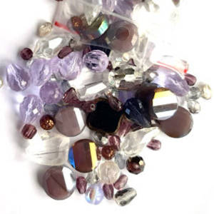 NEW! Premium Glass Facet Mix: Amethysts/Clear