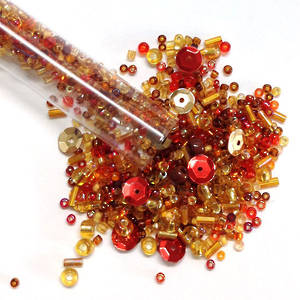 Seed Bead Mix, 25gm - reds and ambers
