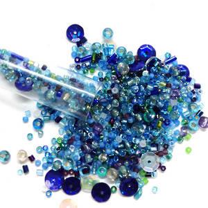 Seed Bead Mix, 25gm - aqua and blue