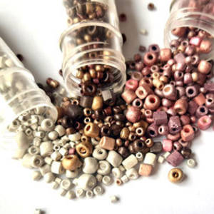 NEW! Chinese Seed Bead Trio: Frosted metallic mixes