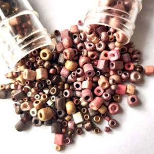 Chinese Seed Bead Duo: Frosted metallic mixes