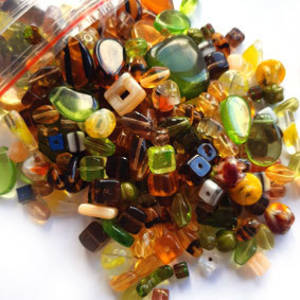 Pressed Glass Bead MIX: Autumnal