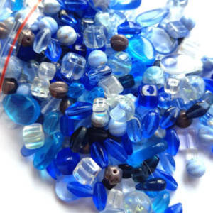 NEW! Pressed Glass Bead MIX: Blues