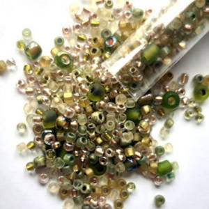 Seed Bead Mix, 25 grams - SOFT OLIVE GOLD