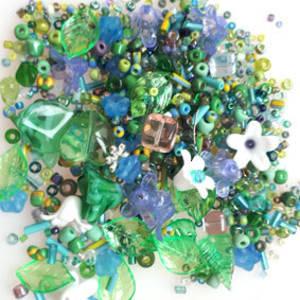 Seed, Leaf and Flower MIX - Aqua, green, purple