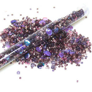 Seed Bead Mix, 25gm - darker purples