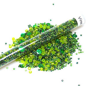 Seed Bead Mix, 25gm - greens