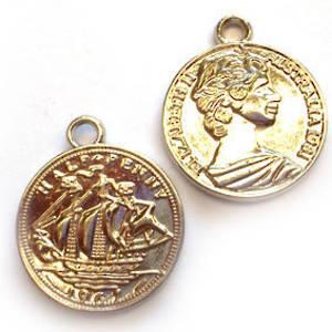 Acrylic Charm: Australian half penny - silver