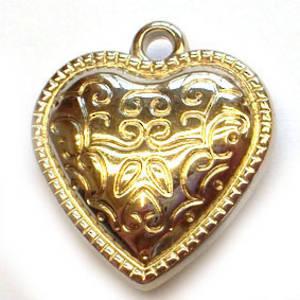 Metalised plastic, Heart - silver