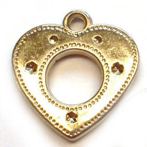 Metalised plastic, Cut out heart - silver
