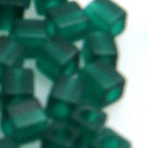 4mm Miyuki Square: 147F - Emerald, frosted
