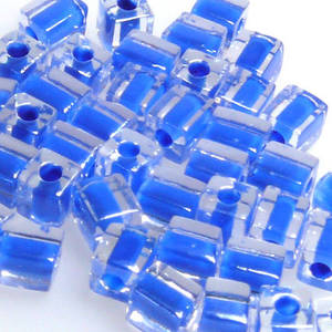 4mm Miyuki Square: 238- Blue/Clear, colour lined