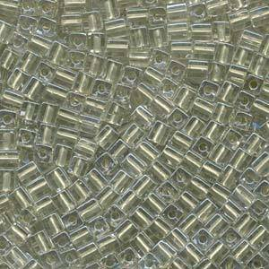 4mm Miyuki Square: 2604 - Metallic Light Green, colour lined
