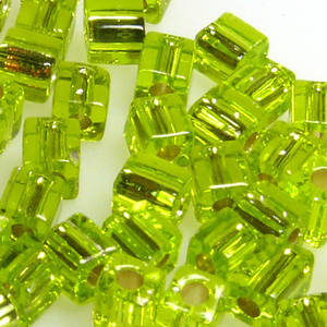4mm Miyuki Square: 14 - Lime, silver lined